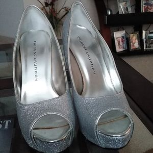 Shoes, beautiful silver glittery